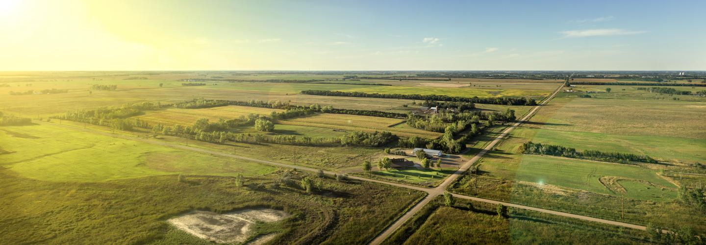 aerial view of South Dakota farm and surrounding land