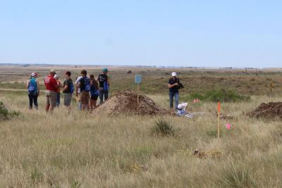 Group of rangeland soils day attendees in a field.