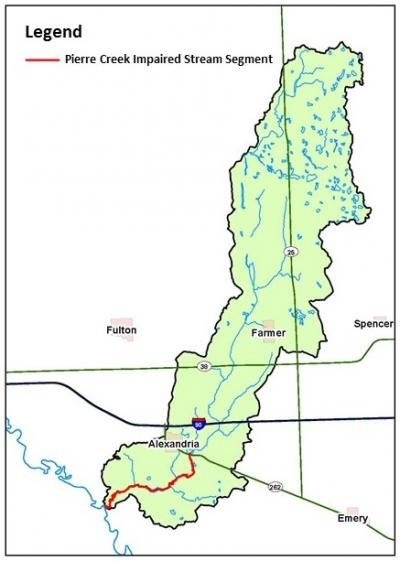 A black and white map of South Dakota outlining the pierre creek watershed area in green.