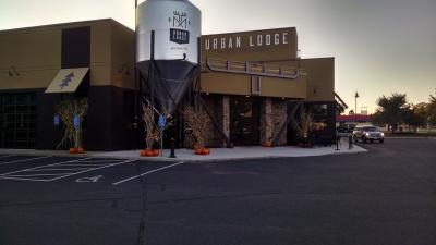 The parking lot of the urban lodge brewery.