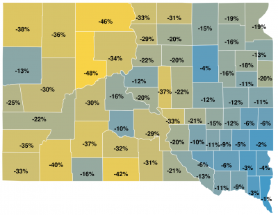 map of South Dakota counties displaying percentage changes for ag land value based on the actual use method