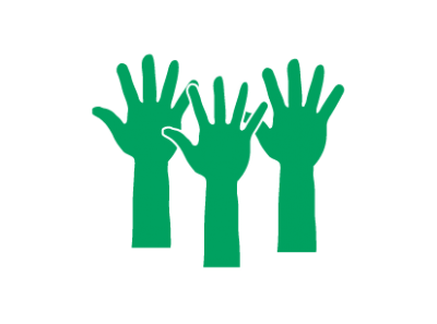 3 green outlines of hands