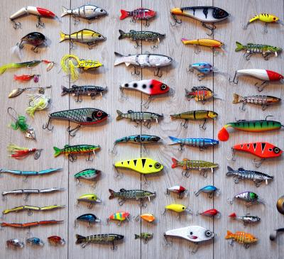 collection of various fishing lures