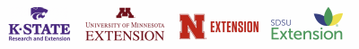 Four logos for Midwestern Extension programs. From Left: Kansas State University Research and Extension, University of Minnesota Extension, Nebraska Extension, SDSU Extension.