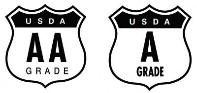 "Two black-and-white, shield-shaped, USDA Egg Grade seals. The seal on the left reads, ""USDA A A Grade."" The seal on the right reads ""USDA A Grade."""