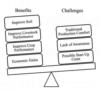A scale diagram illustrating the benefits and challenges of crop and livestock integration. Benefits include: improved soil, improved livestock and crop performance and economic gains. Challenges include: traditional production comfort, lack of awareness, and possible start-up costs.