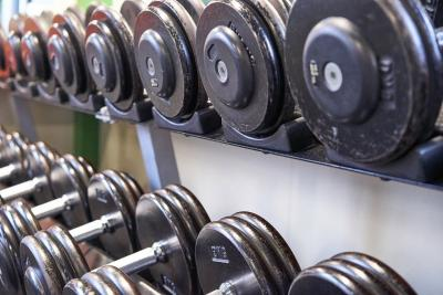 Dumbells sitting on a rack in a gym.