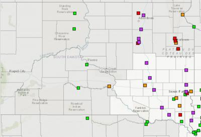 A map of South Dakota with several colored boxes indicating areas of increased flood risk. For a complete description, visit the National Weather Service website at: https://water.weather.gov/ahps2/long_range.php?wfo=fsd