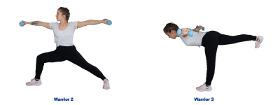 Left: A young woman demonstrating the warrior 2 pose. Right: A young woman demonstrating the warrior 3 pose. For a complete description of the movements, call SDSU Extension at 605-688-6729.