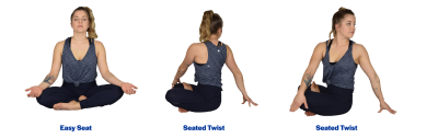 A young woman demonstrating the easy seat and seated twist yoga poses. For a complete description of the movements, call SDSU Extension at 605-688-6729.