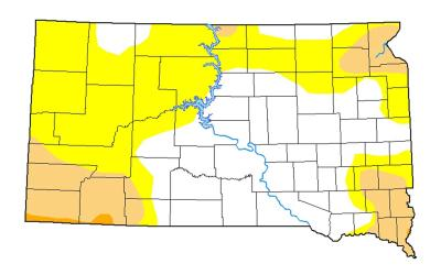 Map of South Dakota that has counties either colored in with white, yellow, light orange or orange colors signifying where drought conditions are.
