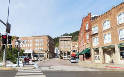 Deadwood, South Dakota buildings with Black Hills in the background