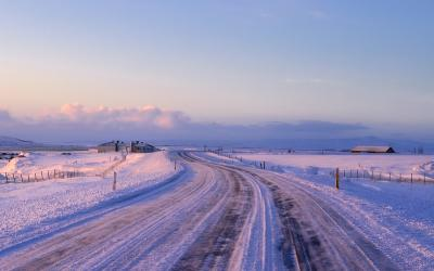 A country road with noticable salt build-up.
