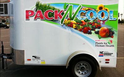 "A medium-sized cooler trailer with ""Pack N Cool"" lettering on the side"