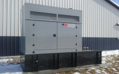 A backup generator outside a swine facility.