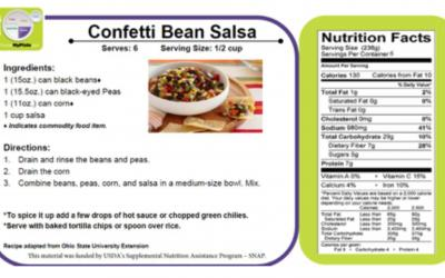 an image of a recipe for confetti bean salsa and its nutritional value