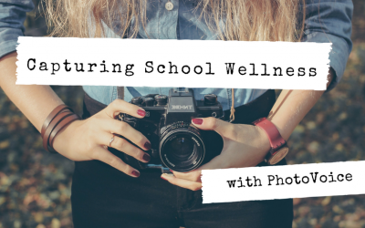 Teenage girl holding camera. Text: Capturing School Wellness with PhotoVoice