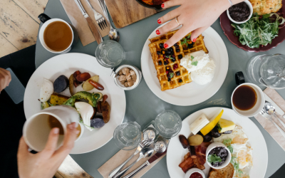 variety of breakfast foods on a table