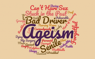 Word cloud of terms associated with ageism.