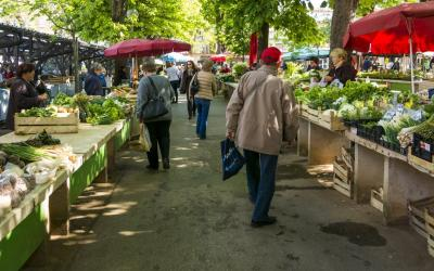 people shopping at a farmer's market