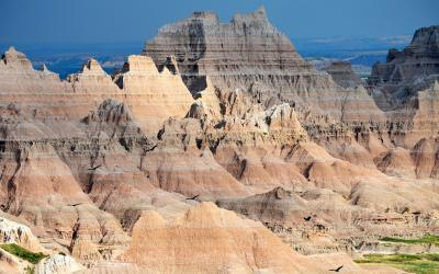 rugged ridges of rock and mineral formations at the badlands national park