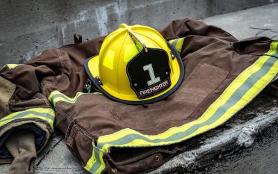 a fireman's jacket and helmet