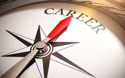 "compass face with red needle pointing towards the text ""career"""