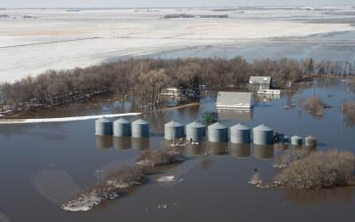 aerial view of a flooded farm in late winter. FEMA News Photo