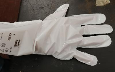 White glove made out of barrier laminate material.