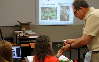 an image of a man showing a plant to a woman