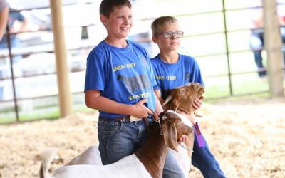 two young males with their show goats at a competition
