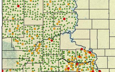 Image of western South Dakota where green triangles indicate areas with low grasshopper populations, orange squares indicate medium grasshopper populations, and red circles indicate high grasshopper populations that exceeded thresholds.