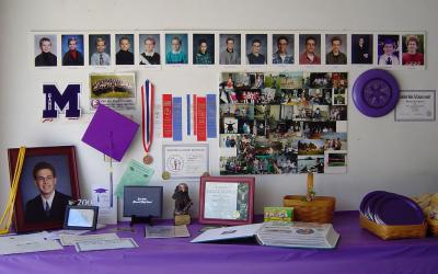 Graduation table display with photos, awards, and keepsakes. Courtesy: Matthew Beckler [CC BY-SA 2.0]