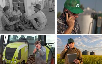 A collage of farmers from different time periods sharing information.