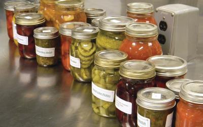 Variety of home-canned, pickled vegetables on a silver table in a kitchen.