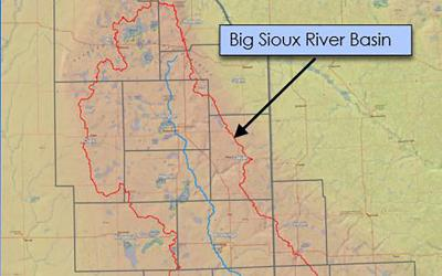 A map of the Big Sioux River Basin.