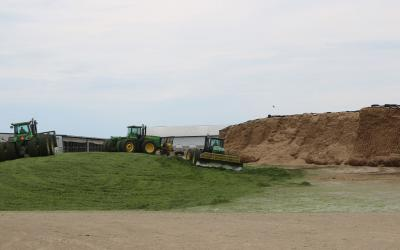 Three, four-wheel drive John Deere tractors, pushing up chopped corn silage into a drive over pile on a dairy farm.