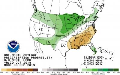 Color-coded map showing the October precipitation outlook for the United States.