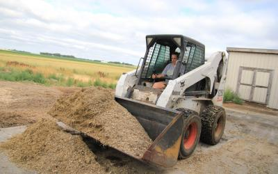 Female dairy employee operating a skid-steer carrying a load of feed in the bucket.