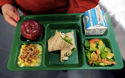 A school lunch tray filled with a variety of healthy foods. Courtesy: Healthy Schools Campaign