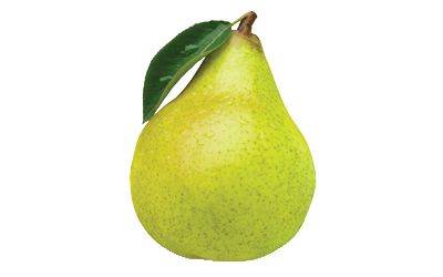 A yellow-green pear.