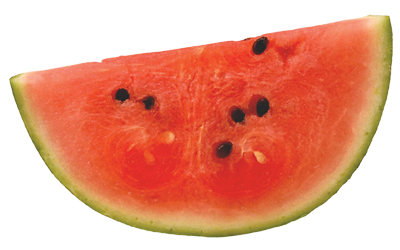 A silce of red watermelon with black seeds.