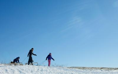 A mother and two daughters pulling sleds through an open field.