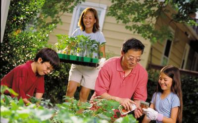 A family planting vegetables in a raised bed garden.