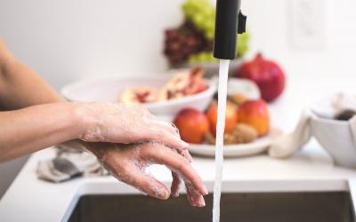 A woman washing her hands in the kitchen sink.