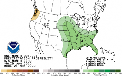 a map showing the precipitation outlook for June 2020