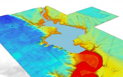 3-D rendering of proposed low-head dam project above Lake Mitchell.