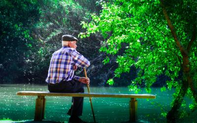 a older man sitting on a bench in front of a river