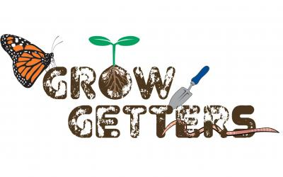 The Grow Getters wordmark. Brown, soil-stained text accompanied by a monarch butterfly, a green seedling, a blue-handled garden trowel, and a brown earthworm.