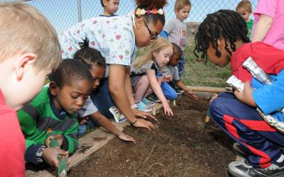 A group of children observing a bed of garden soil with a teacher.